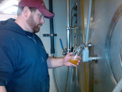 Here's Pat pouring me some Big Bohemian Pils straight from the tank!